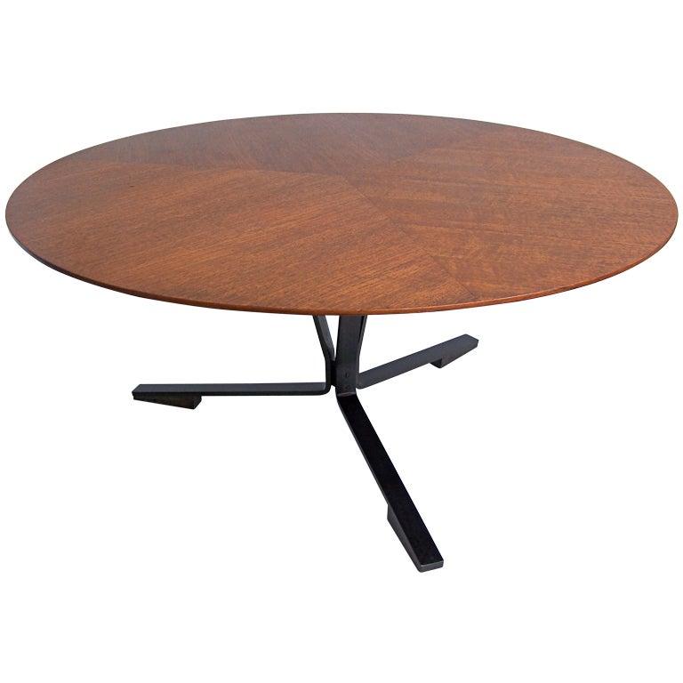 Vintage Metal Coffee Table Furniture: Italian Round Wood And Metal Coffee Table 1950's At 1stdibs