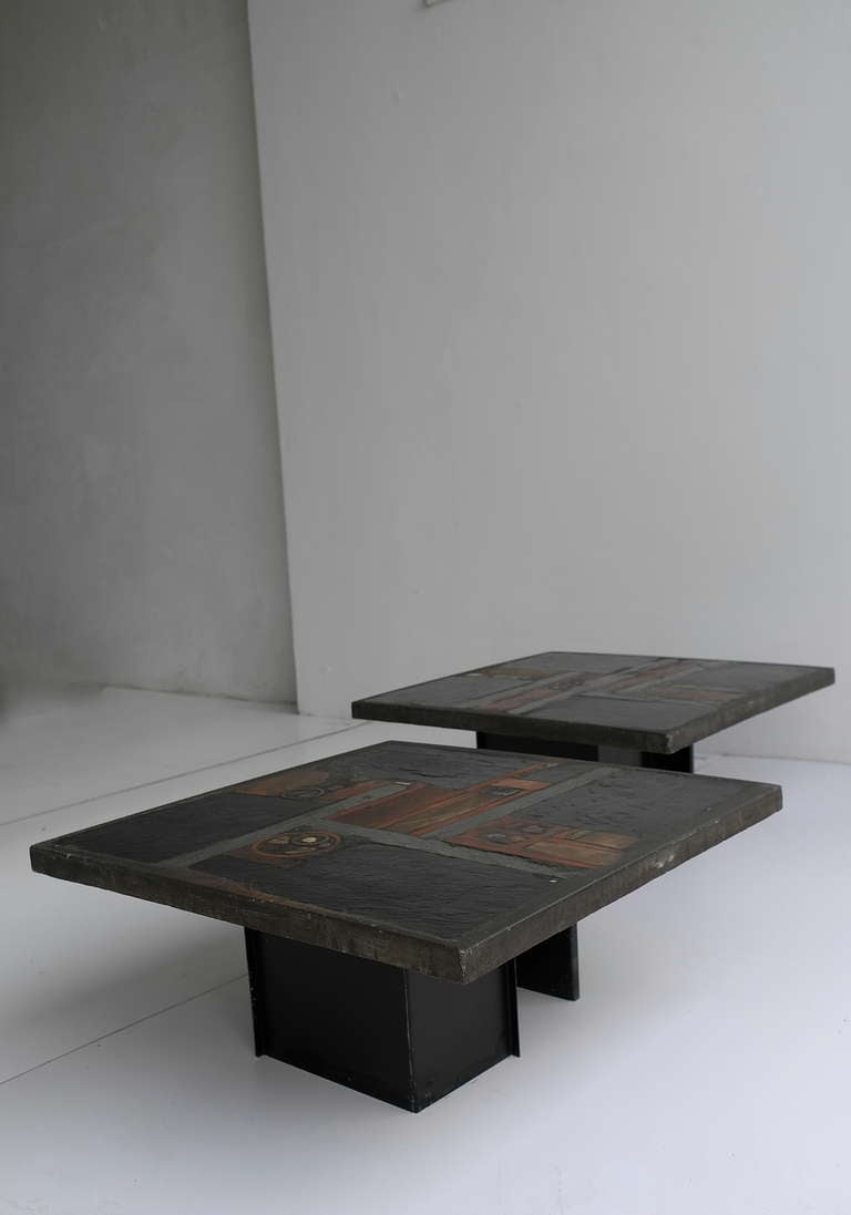 Pair Of Paul Kingma Art Coffee Tables Black Slate Stone And Brass 1978 At 1stdibs