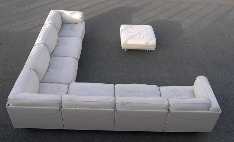 20th Century Large Poltrona Frau White Leather Corner Sofa, Special  Edition. For Sale