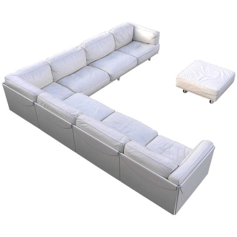 Large Poltrona Frau White Leather Corner Sofa, Special Edition. at ...