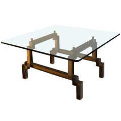 Bronze and Glass Sculptural Coffee Table by Peter Ghyczy