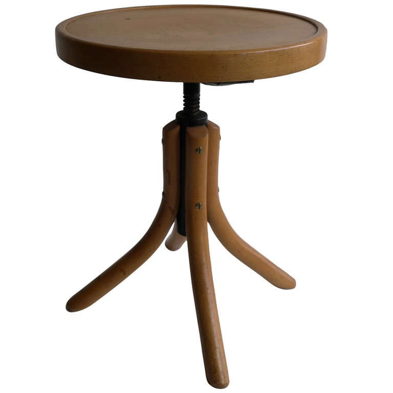 Beechwood adjustable thonet piano stool at stdibs