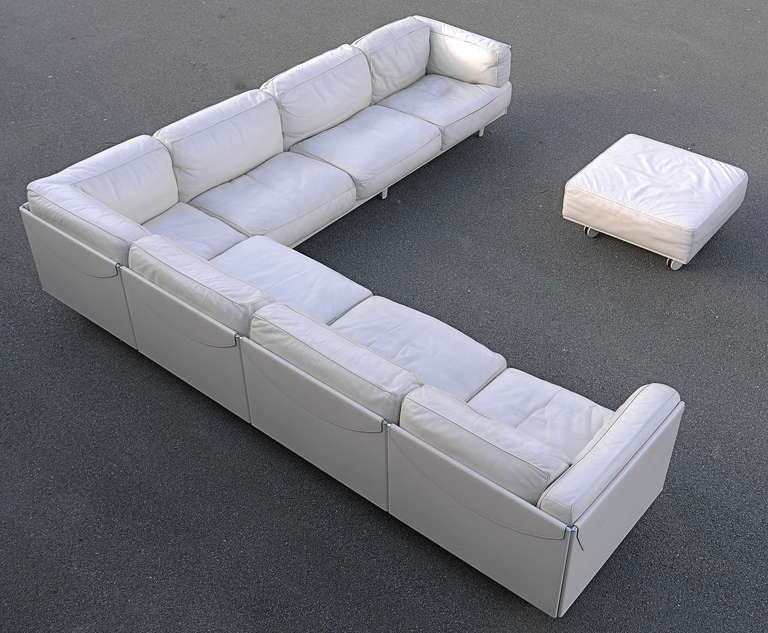Large Poltrona Frau White Leather Corner Sofa Special Edition At 1stdibs