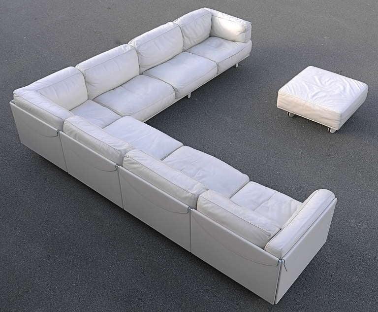 Large Poltrona Frau White Leather Corner Sofa Special