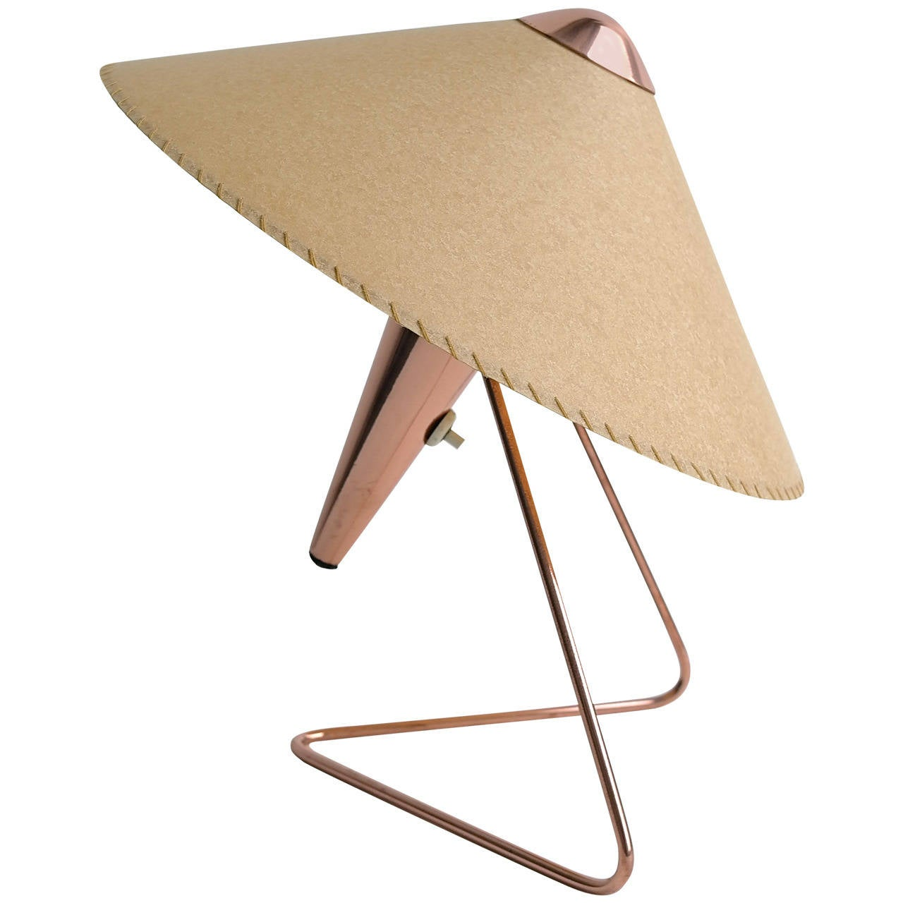 V-Shaped Copper Table Lamp, 1950s For Sale