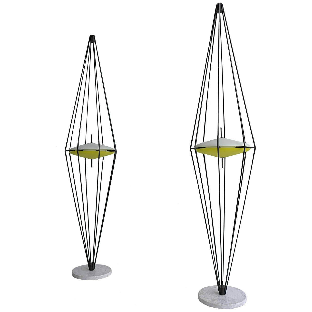 pair of arredoluce floor lamps  italy  1958 at 1stdibs