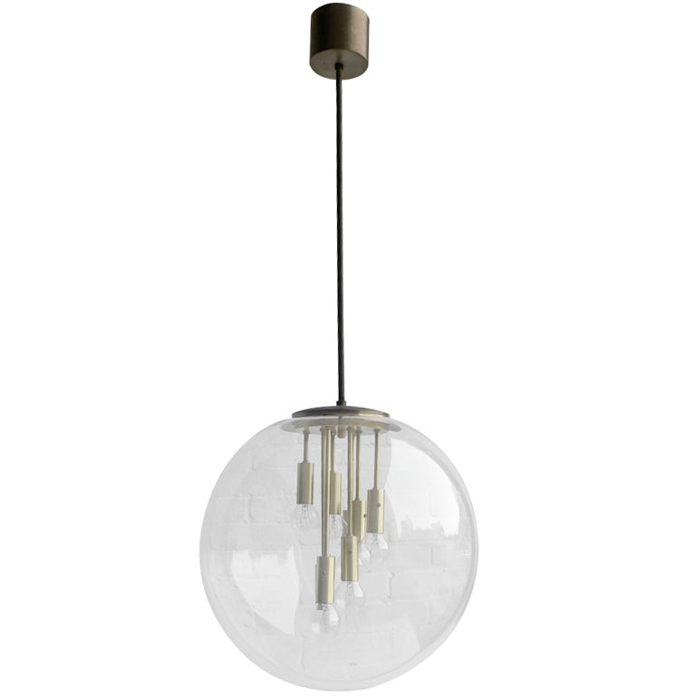 Transparent glass Sputnik ball pendant lamp 1960's 1