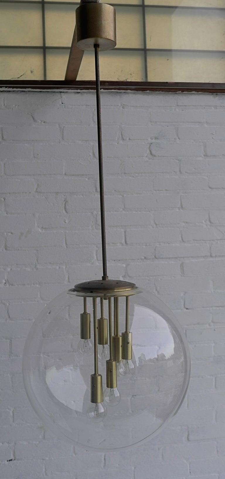 Transparent glass Sputnik ball pendant lamp 1960's 3