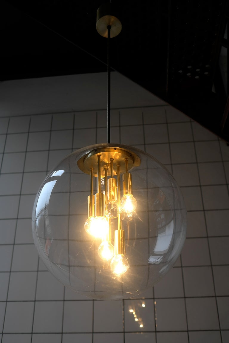 Transparent glass Sputnik ball pendant lamp 1960's 4