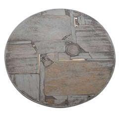 Rare white stone and brass Paul Kingma art coffee table
