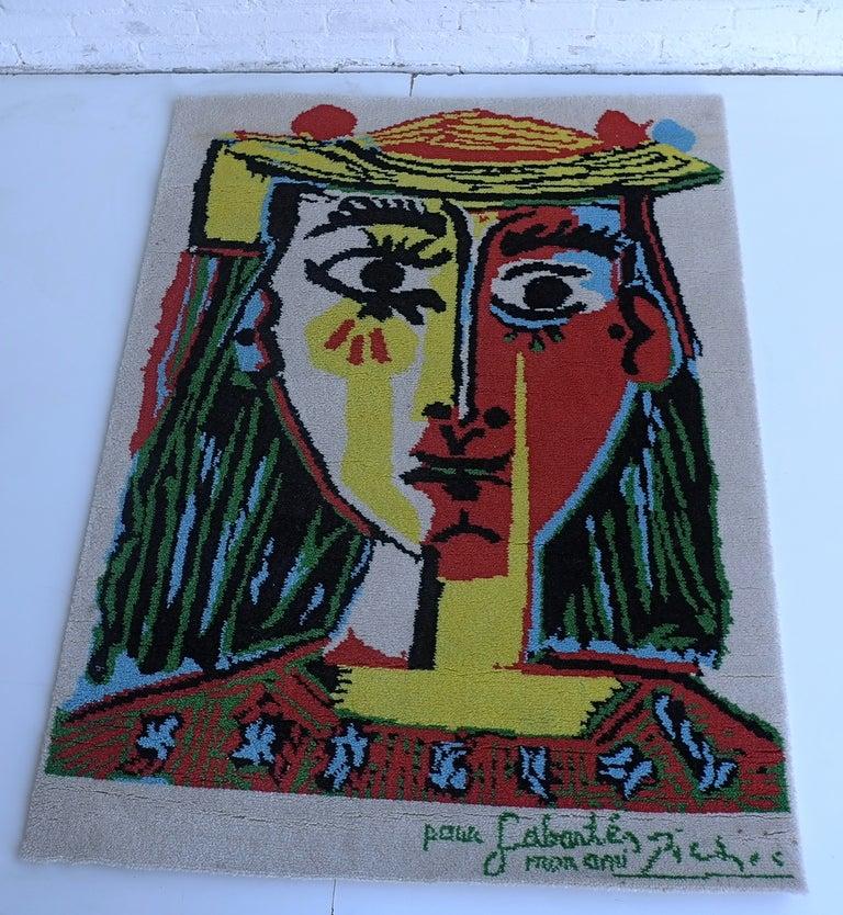 Pablo Picasso (after) Art Rug Femme au chapeau For Sale at 1stdibs