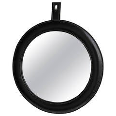 Hand-Stitched Black Leather Wall Mirror in Style of Jacques Adnet