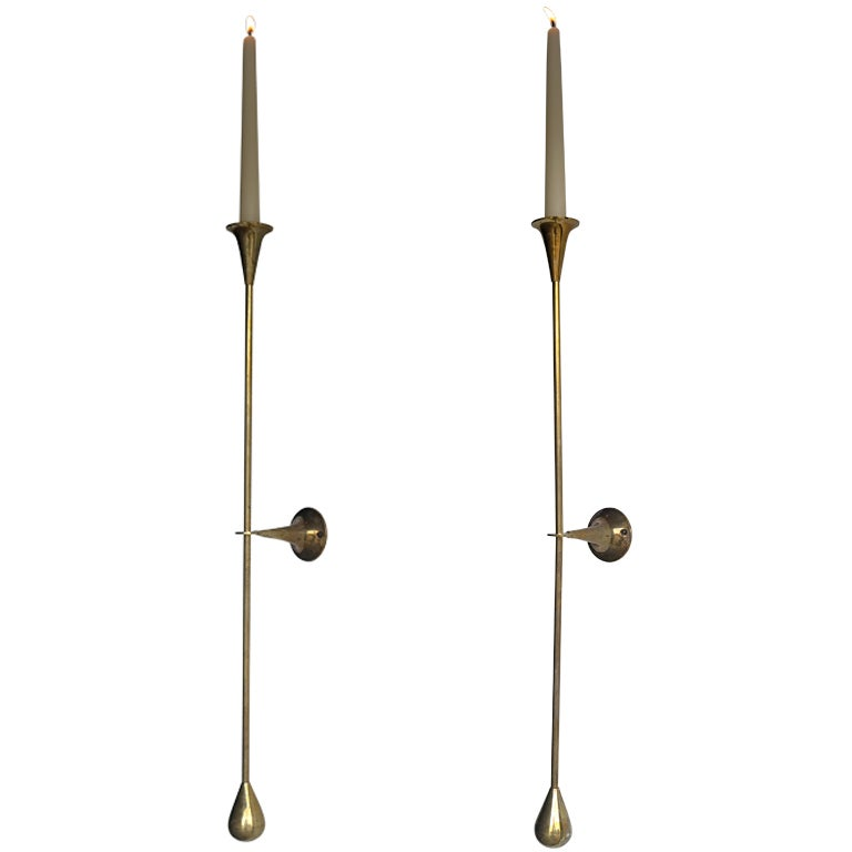 Large Wall Sconces With Candles : Fine Pair of Large Brass Candle Wall Sconces at 1stdibs