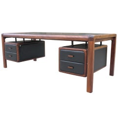 Exceptional large black leather and mahogany desk