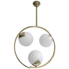 Stilnovo brass and glass pendant 1960's