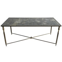 French Maison Jansen Style  Brass Cocktail Table with mirrored Top