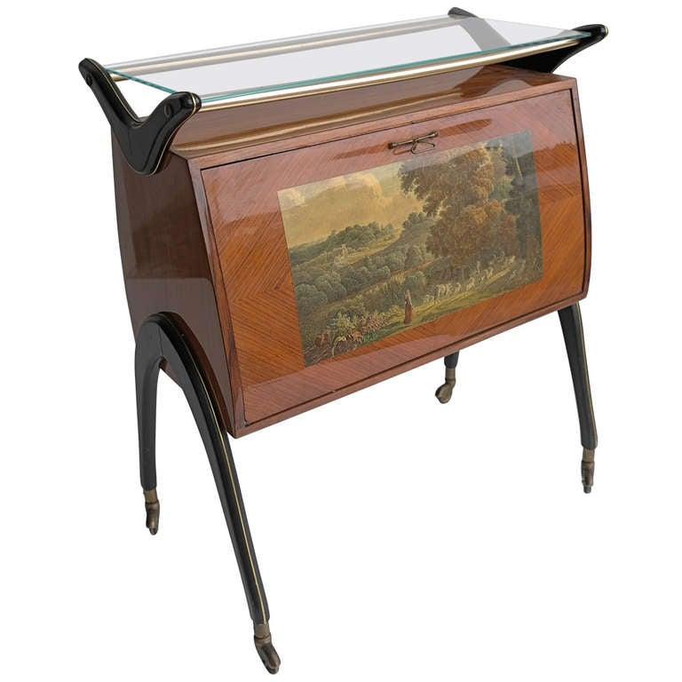 Italian Neoclassical Bar Cabinet circa 1950s