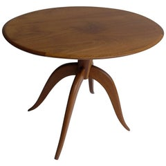Elegant wooden oval Italian side table 1960s