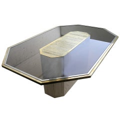 Exceptional etched brass Art Table By Roger Van Hevel