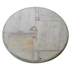 Paul Kingma white stone and brass Art Table