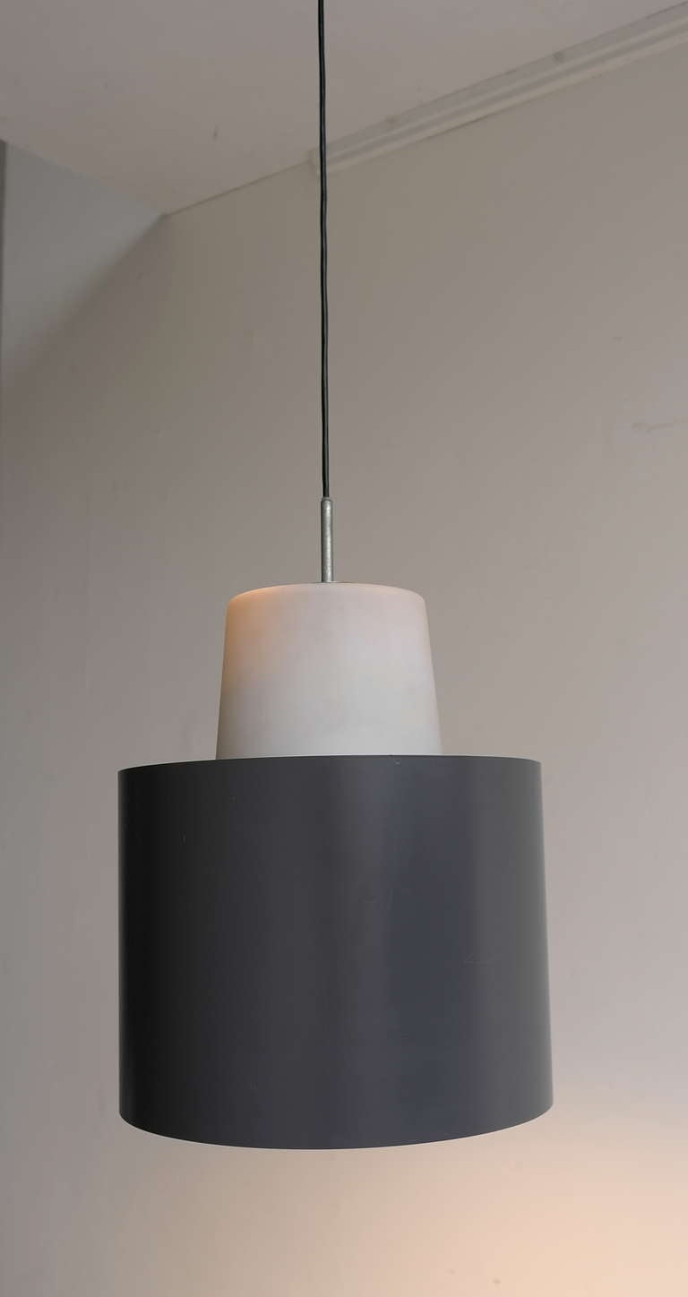 Three Large Industrial Metal and Opaline Glass Pendant Lights, 1960s In Excellent Condition For Sale In Den Haag, NL