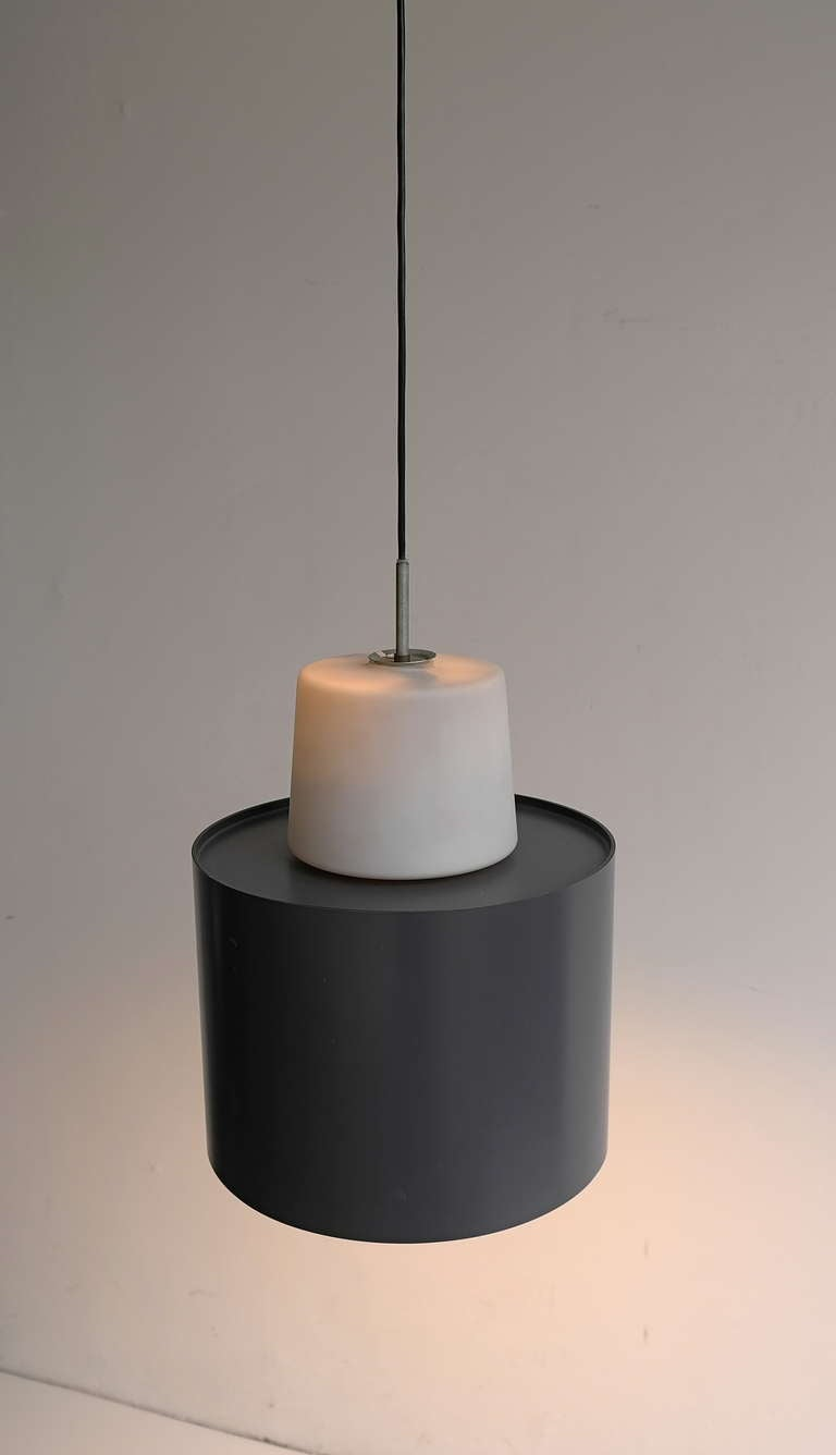Three Large Industrial Metal and Opaline Glass Pendant Lights, 1960s For Sale 1