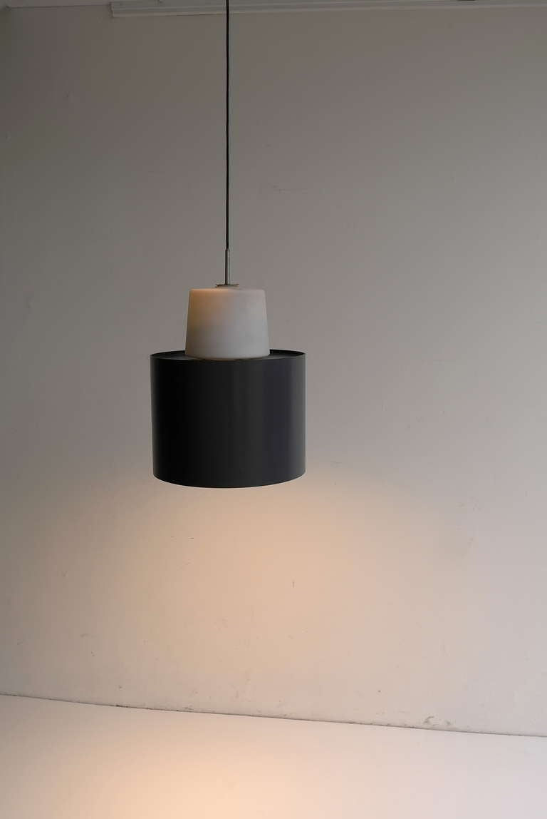 Italian Three Large Industrial Metal and Opaline Glass Pendant Lights, 1960s For Sale