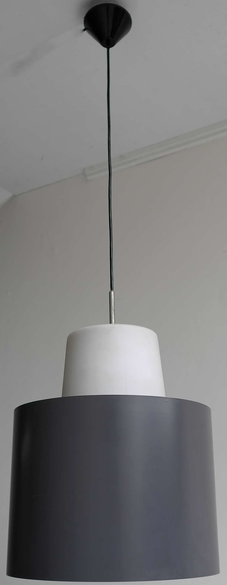 Mid-Century Modern Three Large Industrial Metal and Opaline Glass Pendant Lights, 1960s For Sale