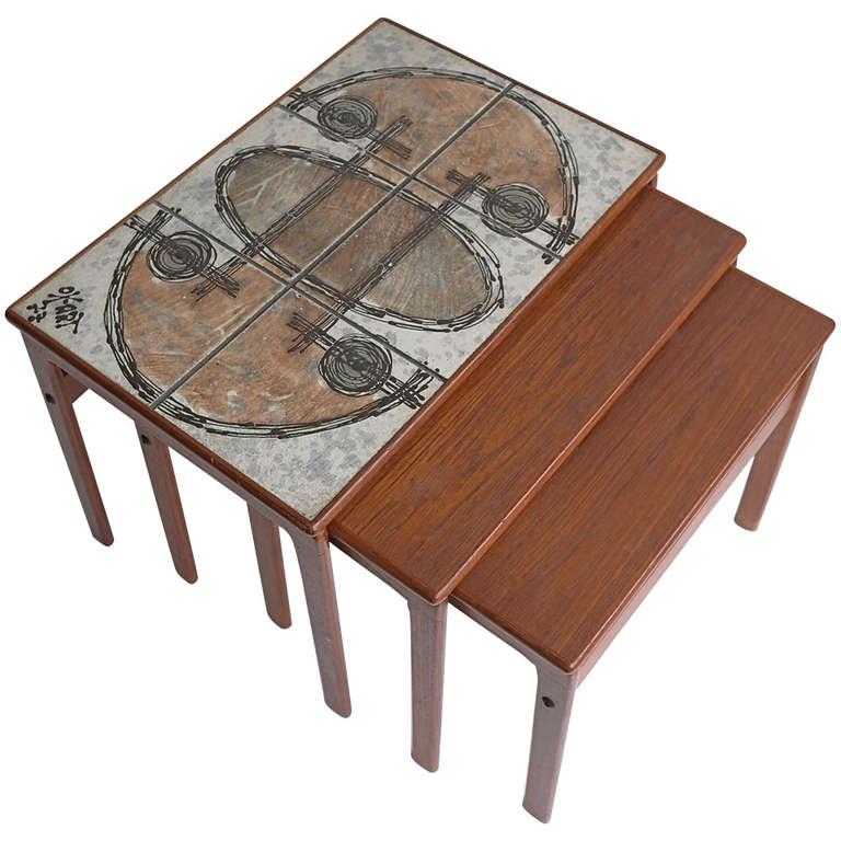 Danish Teak Art Nesting Tables By Ox Art For Sale