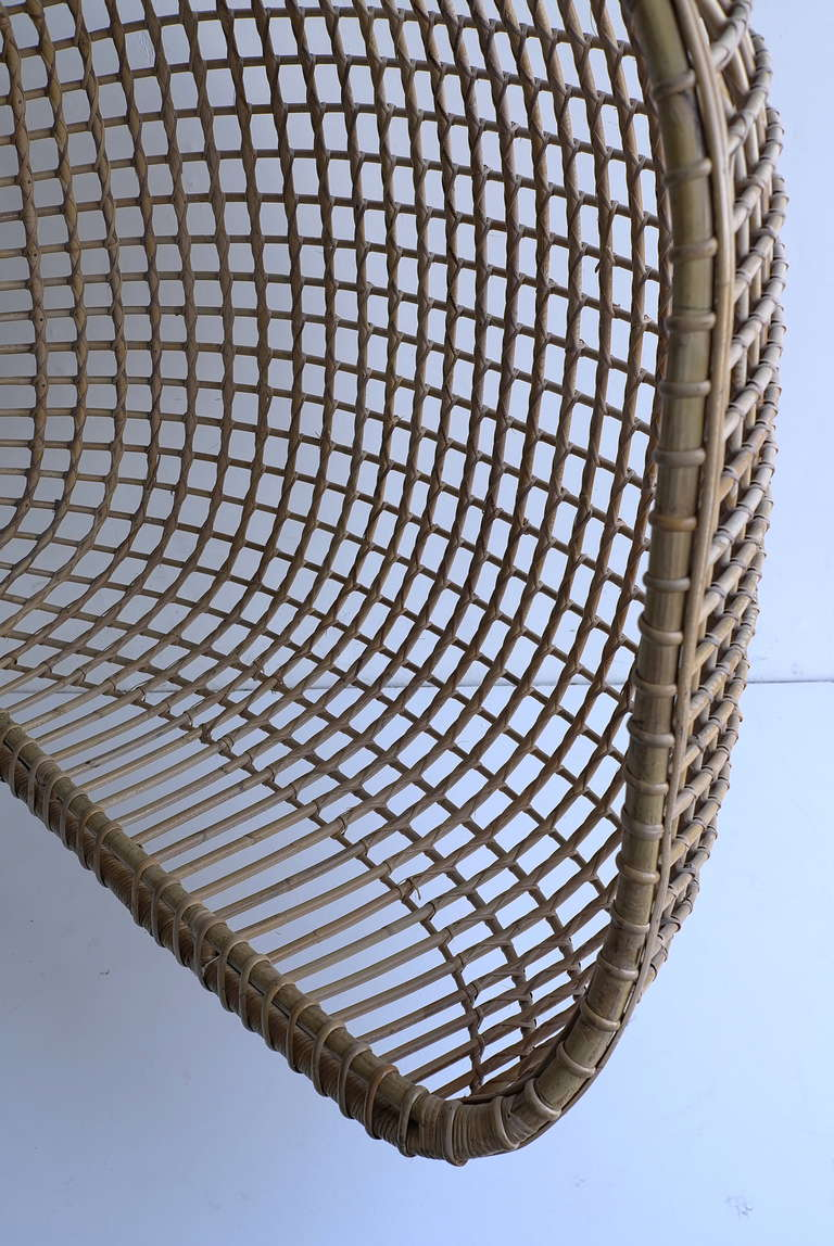 Rare Two Seat Rattan Hanging Egg Chair At 1stdibs