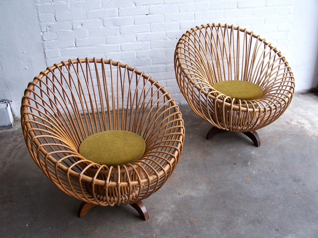 Italian 1950's armchairs. Rattan with green velvet round seats.  Each armchair diameter 80cmx 70cm height  Price per piece, 3 available.