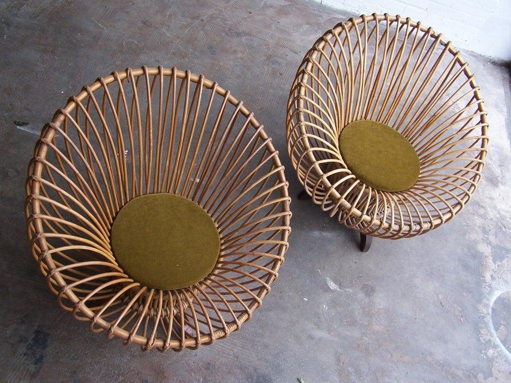 Italian rattan armchairs 1950's 6