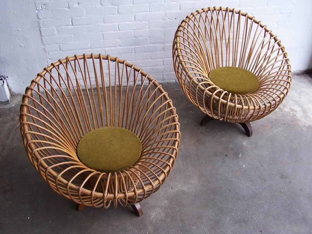 Mid-20th Century Italian rattan armchairs 1950's