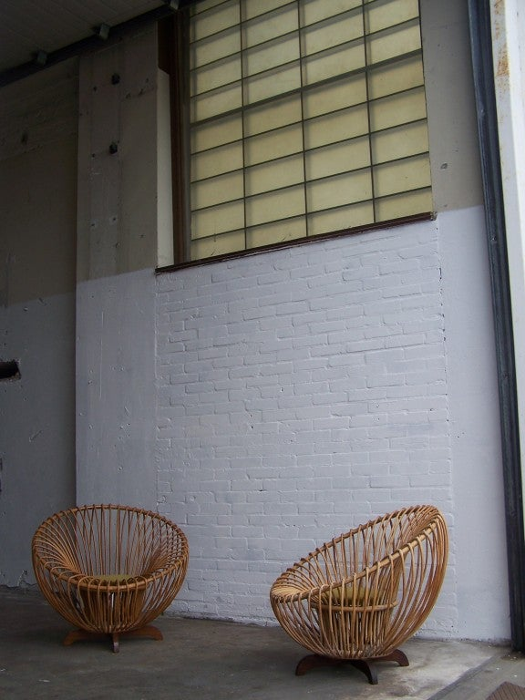 Rattan Italian rattan armchairs 1950's