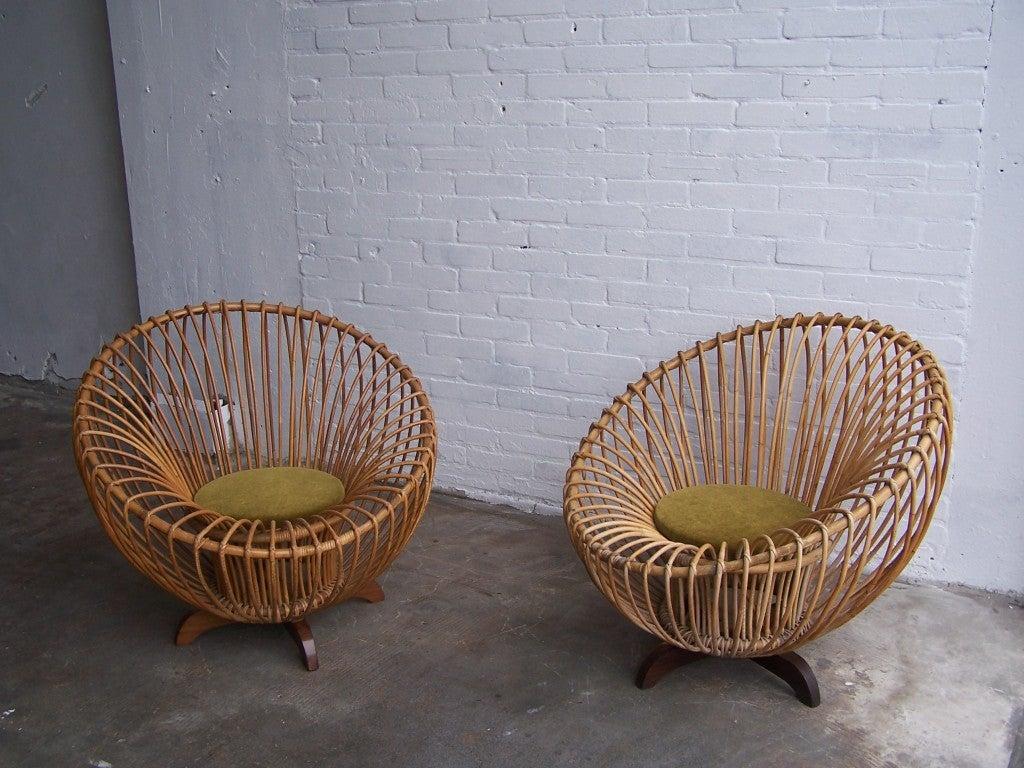 Italian rattan armchairs 1950's 1