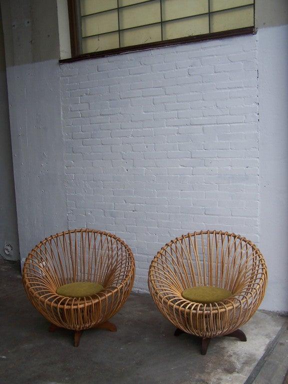 Italian rattan armchairs 1950's 2