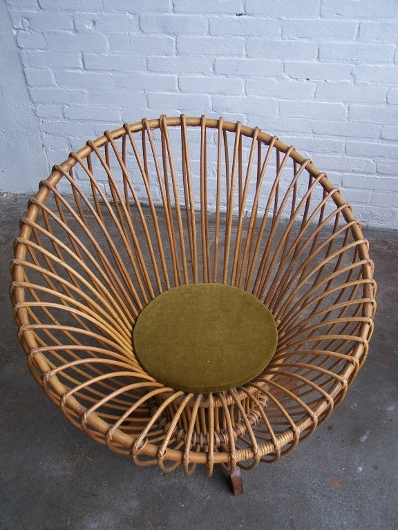 Italian rattan armchairs 1950's 3