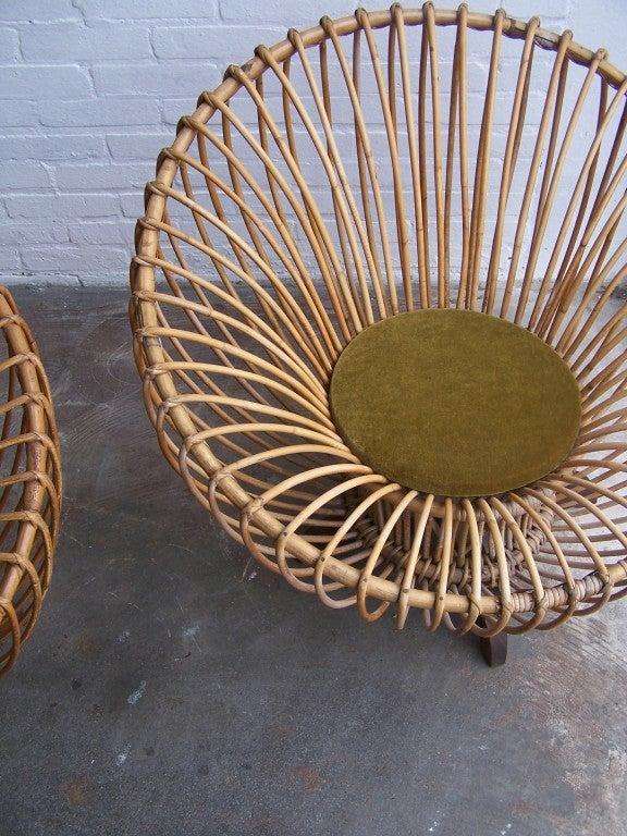 Italian rattan armchairs 1950's 5