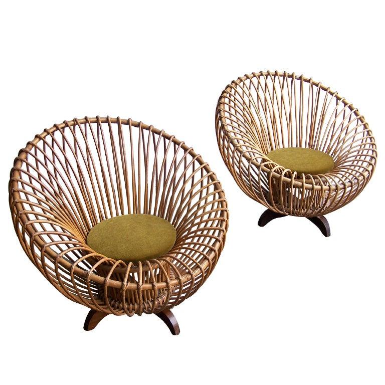 Italian rattan armchairs 1950's