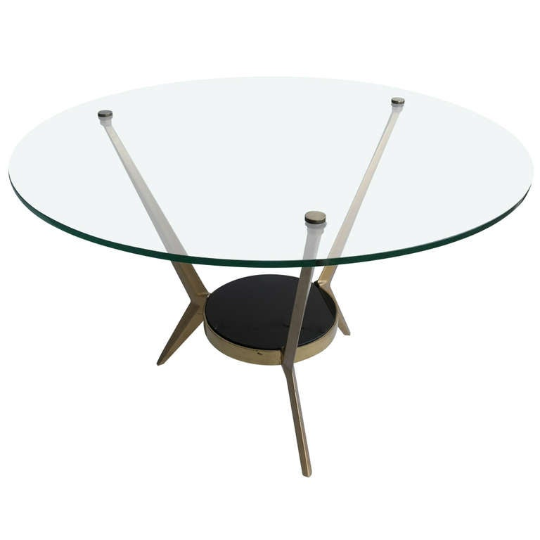 Elegant Brass And Glass Coffee Table: Elegant Angelo Ostuni Brass And Glass Coffee Table At 1stdibs