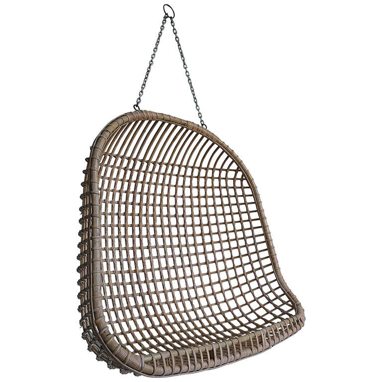 Rare Two-Seat Rattan Hanging Egg Chair 1