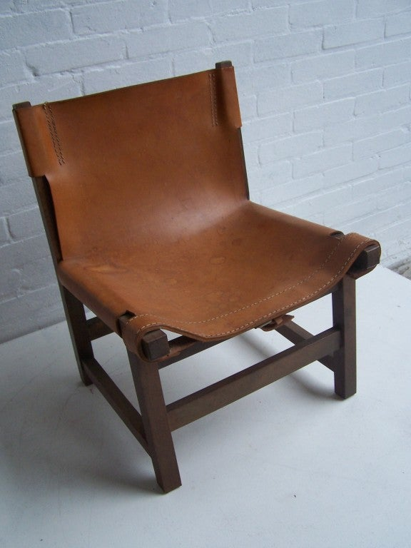 Danish small children sling leather armchair 1960's at 1stdibs