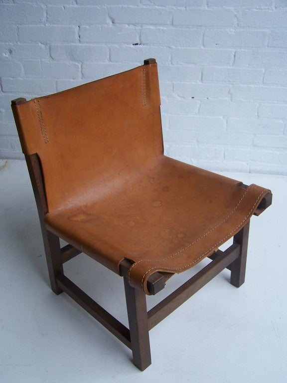 Danish Small Children Sling Leather Armchair 1960 S At 1stdibs