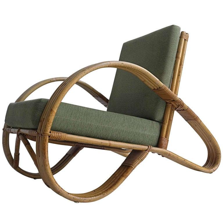 Rattan Lounge Chair 1950 s at 1stdibs