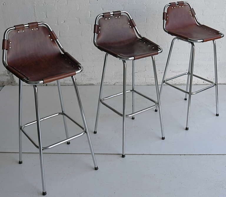 Wholesale Interiors Cognac Dark Brown Leather Bar Stool: Charlotte Perriand Leather Bar Stools At 1stdibs