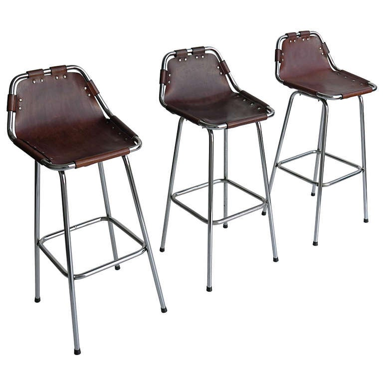 Charlotte Perriand Leather Bar Stools At 1stdibs