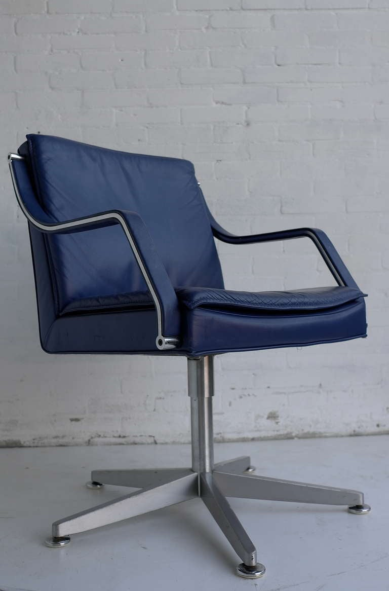 Blue Leather Office Chair Navy Blue Vegan Leather M348