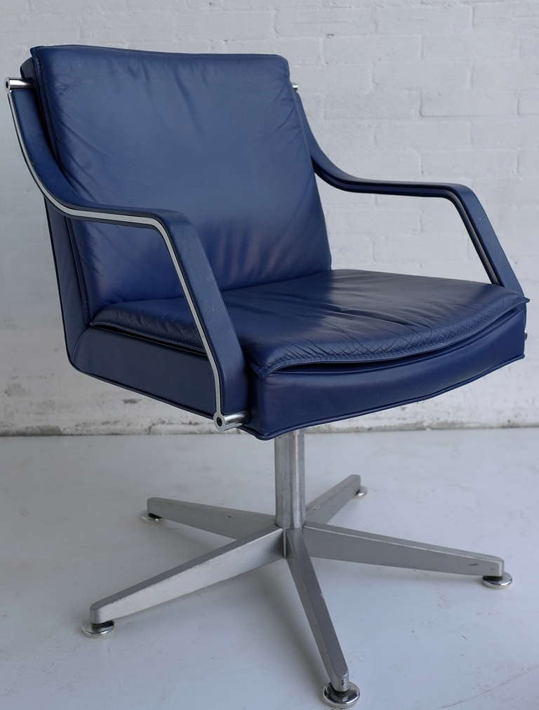 walter knoll office chairs 6 pieces blue leather at 1stdibs