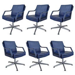 Walter Knoll Office Chairs, 6 Pieces Blue Leather
