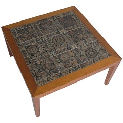 Severin Hansen Danish Teak Coffee Table with Ceramic Art Tile Top